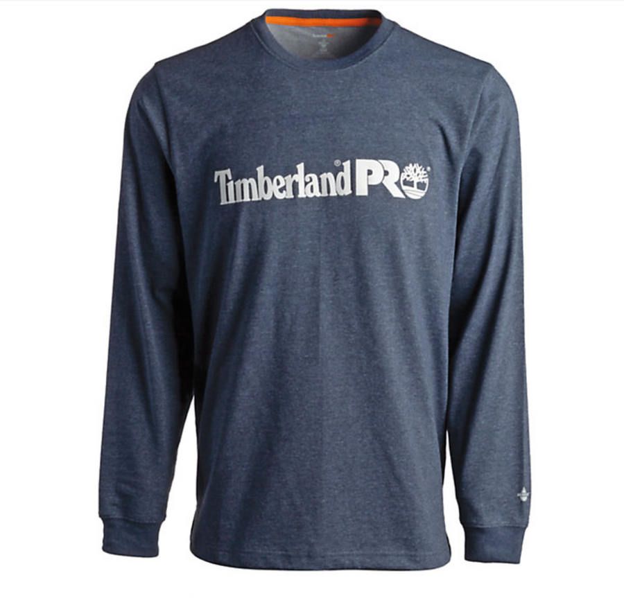 TIMBERLAND PRO BASE PLATE LONG-SLEEVE GRAPHIC T-SHIRT NAVY/HEATHER WHITE A23RB