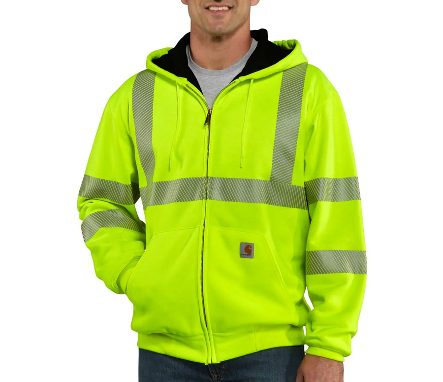 CARHARTT HIGH-VISIBILITY ZIP-FRONT CLASS 3 THERMAL-LINED SWEATSHIRT 100504