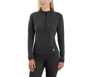 CARHARTT WOMEN'S BASE FORCE HEAVYWEIGHT POLY-WOOL QUARTER-ZIP BLACK HEATHER WBL133