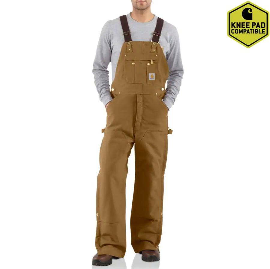 CARHARTT DUCK ZIP-TO-THIGH BIB OVERALL QUILT LINED R41