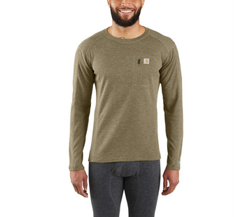 CARHARTT BASE FORCE HEAVYWEIGHT POLY-WOOL CREW BURNT OLIVE HEATHER MBL119