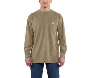 CARHARTT FORCE FLAME RESISTANT COTTON LONG-SLEEVE T-SHIRT KHAKI 100235