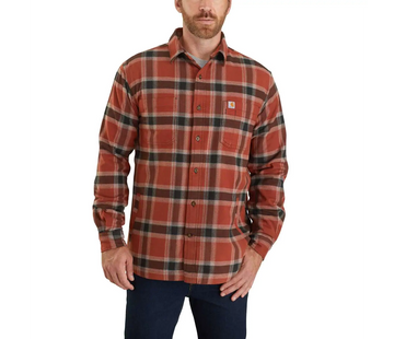 CARHARTT RUGGED FLEX RELAXED FIT FLANNEL FLEECE-LINED PLAID SHIRT 104450