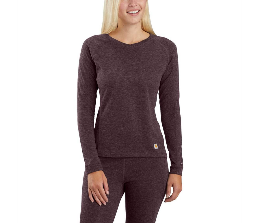 CARHARTT WOMEN'S BASE FORCE HEAVYWEIGHT POLY-WOOL CREW DEEP WINE WBL132