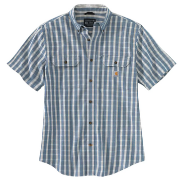 CARHARTT LOOSE FIT MIDWEIGHT CHAMBRAY SHORT-SLEEVE PLAID SHIRT 104625