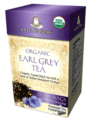 Organic Black Tea Bags I Earl Grey I Nature's Guru I Whole Leaf 25 CT Box