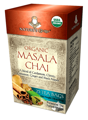 Masala Chai Black Tea Bags I Nature's Guru I Organic Whole Leaf Tea 25 CT Box
