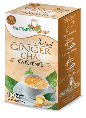 Ginger Chai Latte Instant Tea Mix I Nature's Guru I Sweetened 10 CT Box