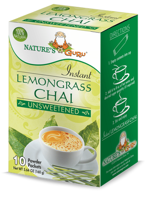 Lemongrass Chai Latte Instant Tea Mix I Nature's Guru I Unsweetened 10 CT Box