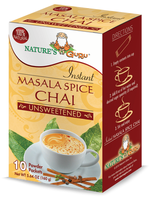 Masala Chai Latte Instant Tea Mix I Nature's Guru I Unsweetened 10 CT Box