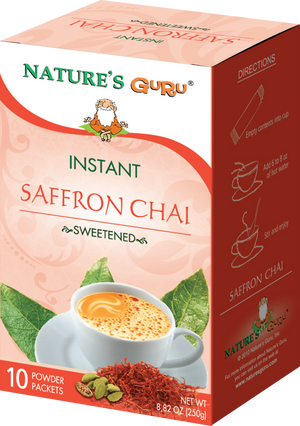 Saffron Chai Latte Instant Tea Mix I Nature's Guru I Sweetened 10 CT Box