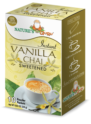 Vanilla Chai Latte Instant Tea Mix 10 CT Box I Nature's Guru I Sweetened