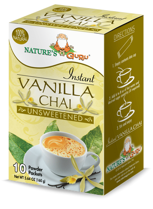Vanilla Chai Latte Instant Tea Mix I Nature's Guru I Unsweetened 10 CT Box
