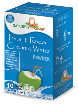 Coconut Water Instant Hydration Drink Mix I Nature's Guru I Original 10 CT Box