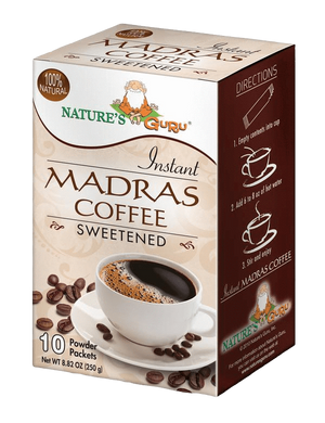 Madras Coffee Instant Filter Coffee Mix I Nature's Guru I Sweetened 10 CT Box