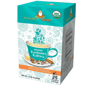 Organic Green Tea Bags I Kashmiri Kahwa I Nature's Guru I Whole Leaf 25 CT Box
