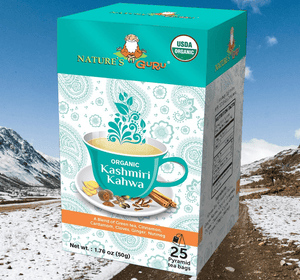 Organic Green Tea Bags I Kashmiri Kahwa I Nature's Guru I Whole Leaf 25 CT Box Lifestyle