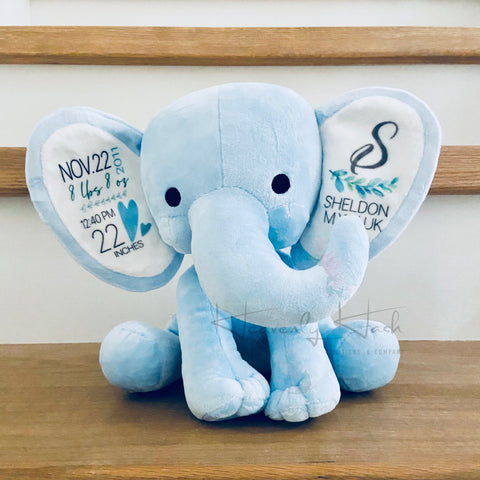 Personalized Birth Stat Elephant (Blue)