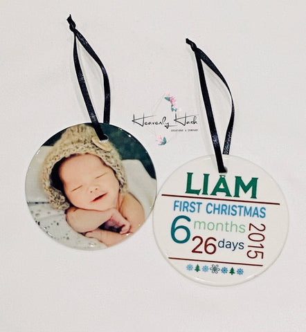 Baby Photo & Birth Stat Round Porcelain Ornament