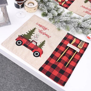 Buffalo Plaid Placemat with cutlery holder