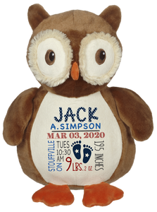 Okie Owl (Personalized Birth Stat Plush)