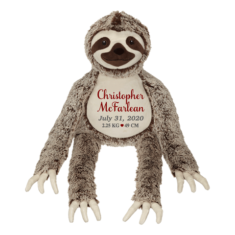 Silvano Long Leg Sloth (Personalized Birth Stat Plush)