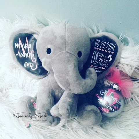 Personalized Birth Stat Elephant (Grey)