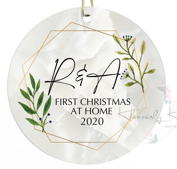 First Christmas at home Round Porcelain Ornament