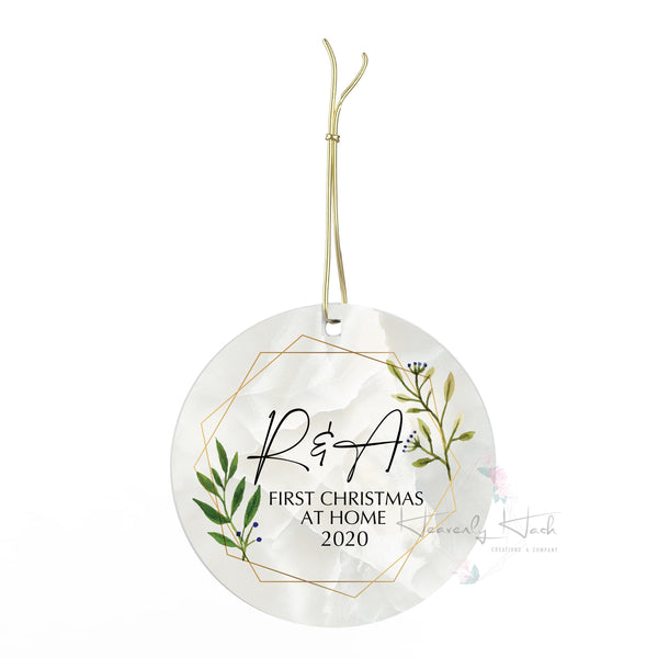 First Christmas at home with photo Round Porcelain Ornament
