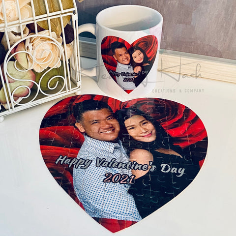 Custom Heart Shape Photo Puzzle (75 pcs) + Mug Set