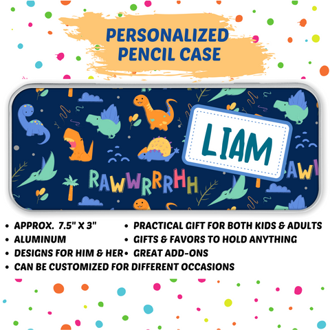 NEW!! Personalized Tin Pencil / Storage Case (Boy Design)
