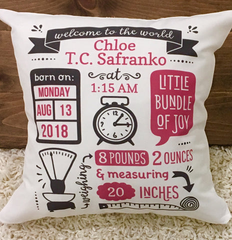Birth Stat Pillow - Classic Girl Design