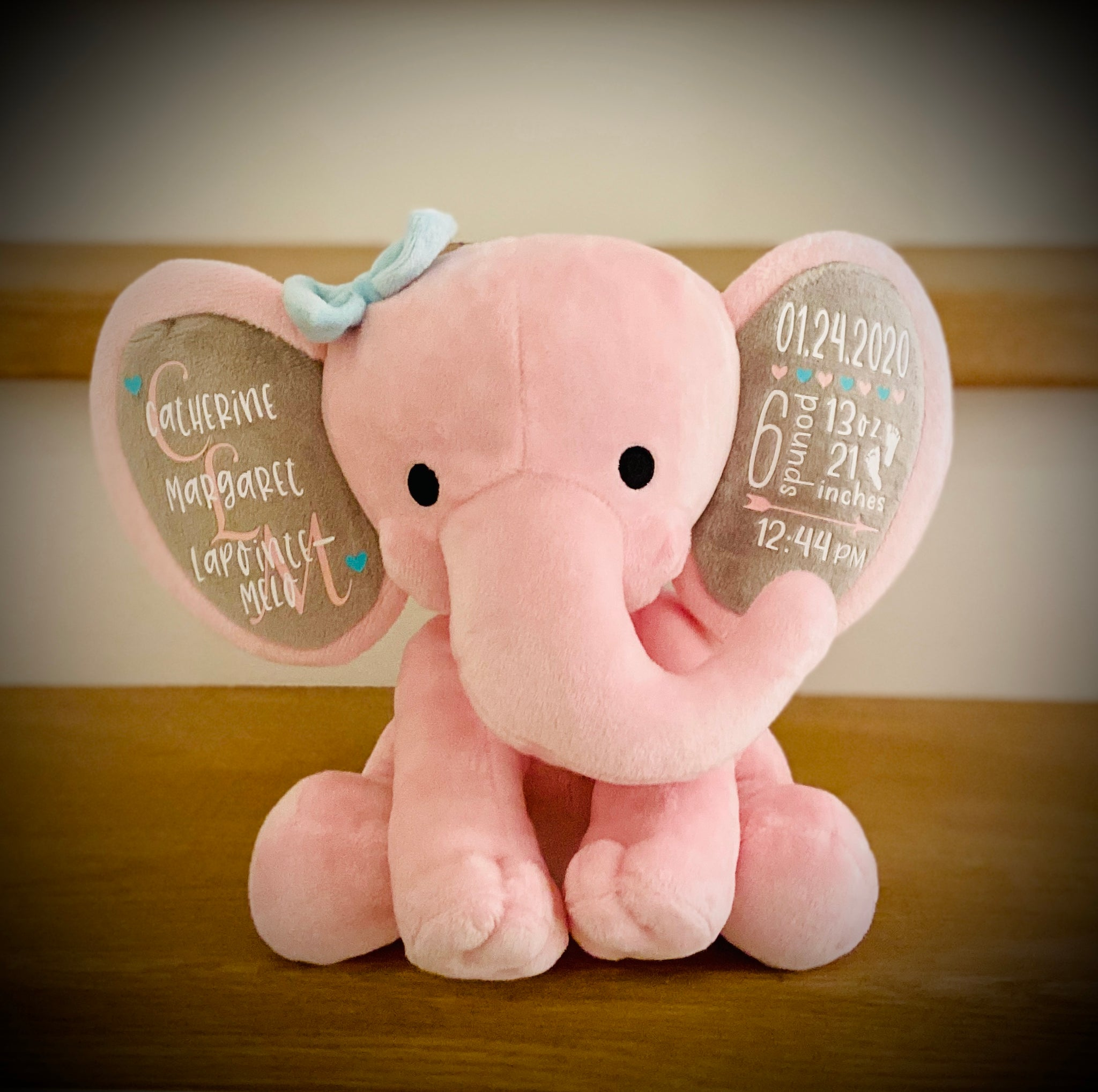 Personalized Birth Stat Elephant (Pink)