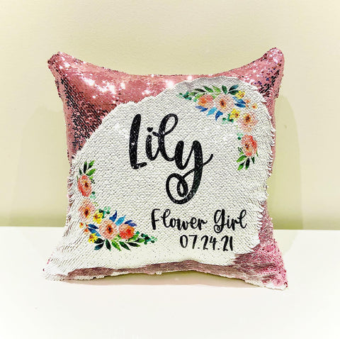 Flower Girl Sequin Pillow - Personalize it !!