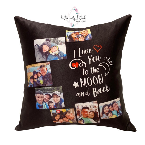 "Personalized Photo Collage ""I love you to the moon and back"" Pillow"