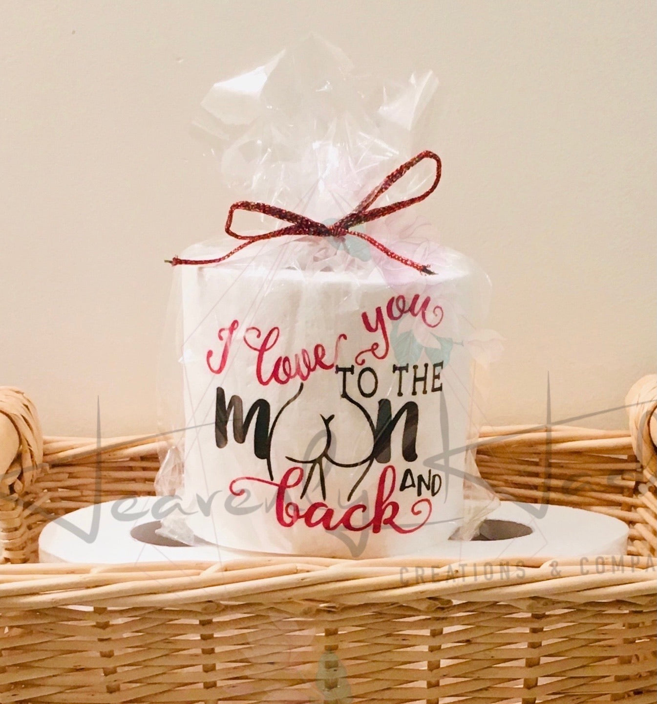 Toilet Paper Funny Gift - I love you to the moon & back