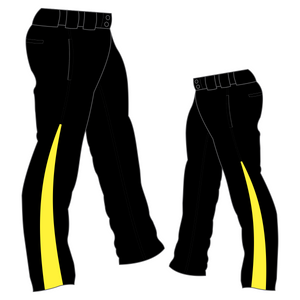 PA-1010 Black Softball Pants with Front Pockets & Panels
