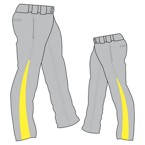 PA-1010 Grey Softball Pants with Front Pockets & Panels