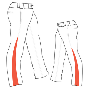 PA-1010 White Softball Pants with Front Pockets & Panels