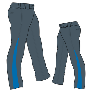 PA-1010 Charcoal Softball Pants with Front Pockets & Panels