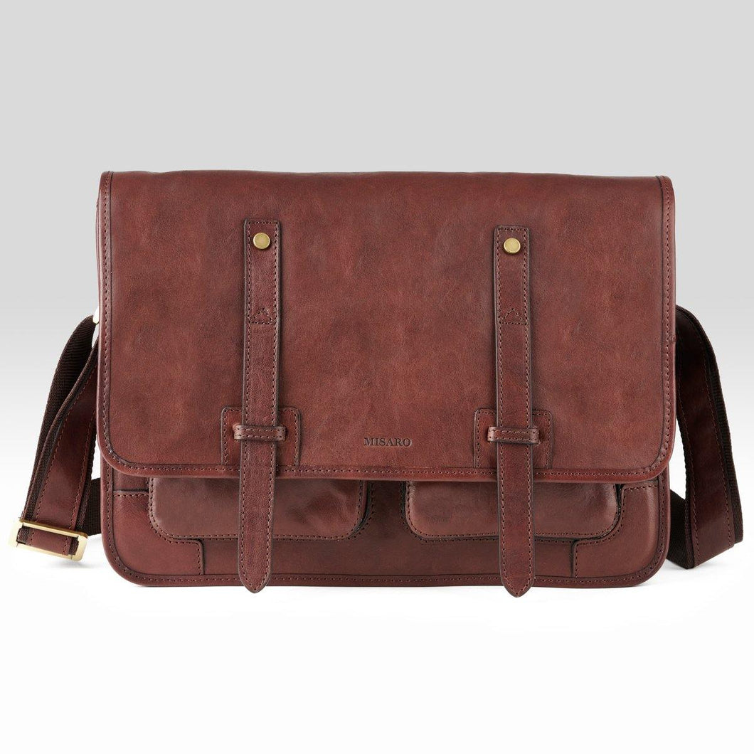 Brown Leather Messenger Bag - Misaro Australia