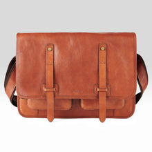 Load image into Gallery viewer, Tan Leather Messenger Bag - Misaro Australia