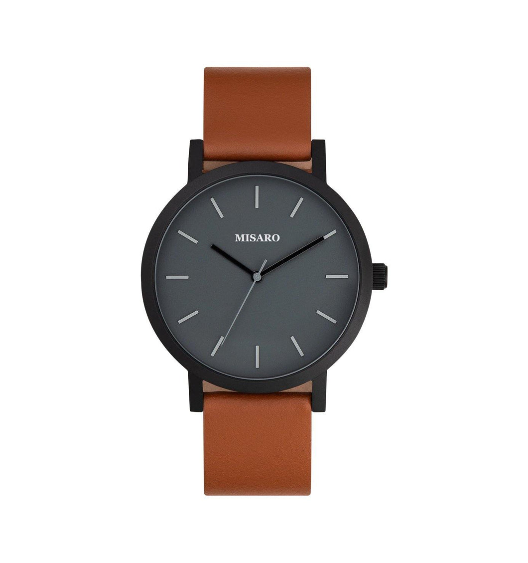 Black Minimal Watch with Brown Leather Band