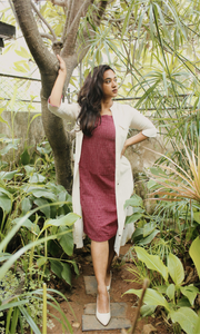 Eclectic Dress Maroon Buta
