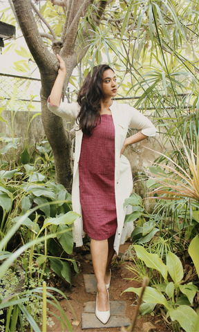 Eclectic Dress Maroon Buta With Maroon & Ivory Checks
