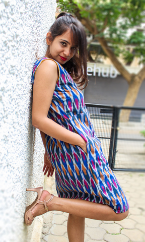 Zoey Blue Ikat Sheath Dress