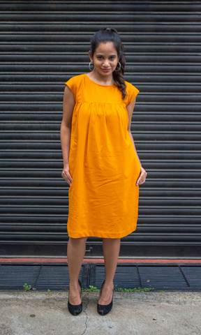 Ahana Mustard Yellow Handwoven Dress