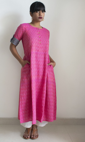 Rose pink Inverted pleat long ikat dress