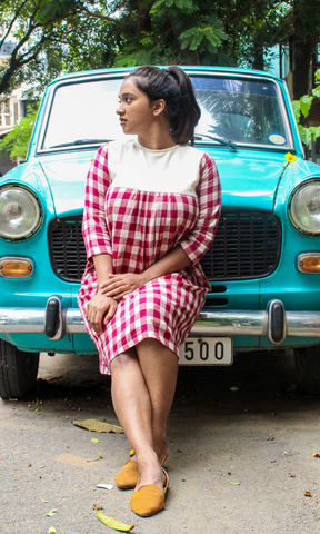 Sianna Maroon Checks Kotpad Midi Dress
