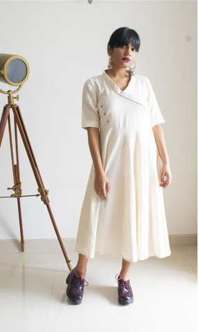 Kotpad Ivory Long Dress with Kantha Work